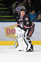 KELOWNA, CANADA - FEBRUARY 18: Deven Dubyk #33 of the Red Deer Rebels stands on the ice as the Red Deer Rebels visit the Kelowna Rockets on February 18, 2012 at Prospera Place in Kelowna, British Columbia, Canada (Photo by Marissa Baecker/Shoot the Breeze) *** Local Caption ***