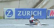 Vienna AUSTRIA. Gold Medalist; SUI M1X Xeno MUELLER winning the final Silver NZL M1X. Rob WADDELL.  2000 FISA World Cup. 2nd Round. Vienna Neue Donau Rowing Course  [Mandatory Credit. Peter Spurrier/Intersport Images]