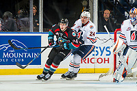 KELOWNA, CANADA - SEPTEMBER 22: Luc Smith #24 of the Kamloops Blazers back checks Kyle Topping #24 of the Kelowna Rockets on September 22, 2018 at Prospera Place in Kelowna, British Columbia, Canada.  (Photo by Marissa Baecker/Shoot the Breeze)  *** Local Caption ***