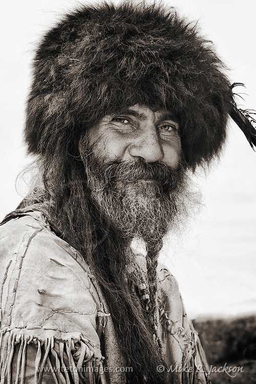 Mountain Man is his buffalo cap at a rendezvous in southern Wyoming.