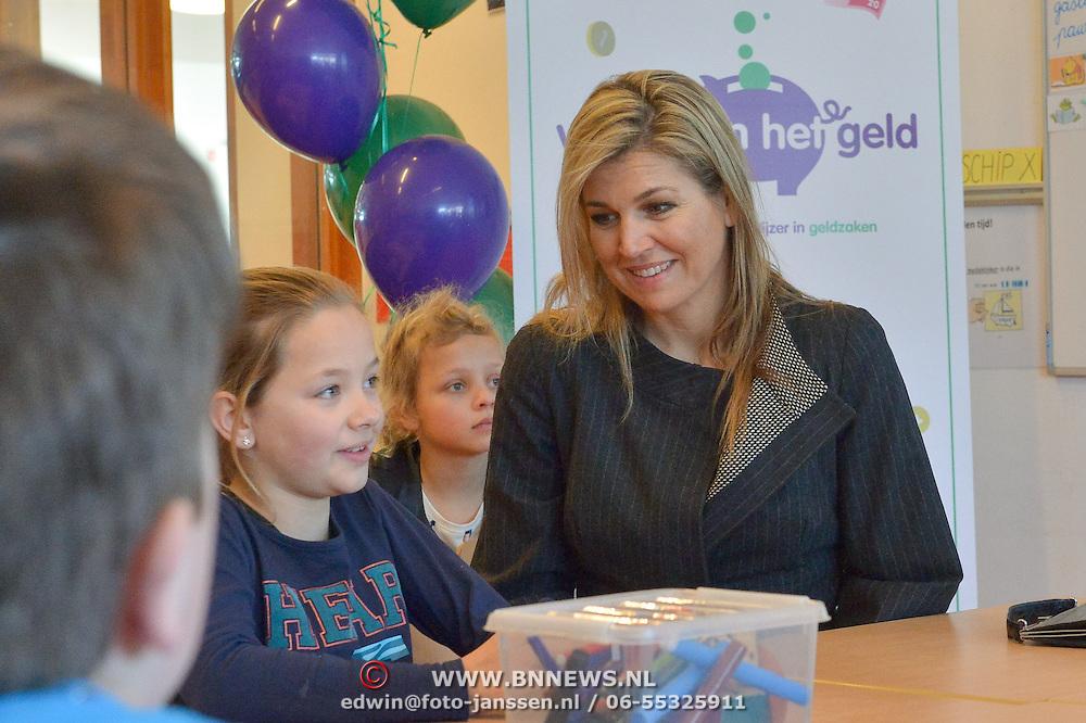 NLD/Vleuten/20160314 - Koningin Maxima aanwezig bij start 6e editie van de Week van het Geld, Koningin Maxima