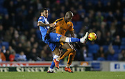 Brighton central defender, Connor Goldson (17) pokes the ball awat from Wolverhampton Wanderers striker Benik Afobe (10) during the Sky Bet Championship match between Brighton and Hove Albion and Wolverhampton Wanderers at the American Express Community Stadium, Brighton and Hove, England on 1 January 2016.