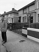 "John O'Grady Rescued By Gardai.   (R67)..1987..05.11.1987..11.05.1987..5th November 1987..After being kidnapped from his home in Cabinteely, Co Dublin, John O'Grady was finally rescued after twenty one days in captivity. he was located in a house inCarnlough Road, Cabra West, Dublin. During his ordeal Mr O""Grady was mutilated by the kidnappers led by Dessie O'Hare to apply pressure on his family to pay the ransom sought. In an ensuing gun battle with the kidnappers a detective garda was shot and seriously wounded. In the chaos that followed the kidnappers escaped and were not all captured for a further three weeks after a massive manhunt...Picture shows the blood stained path where the detective garda was shot and seriously wounded."