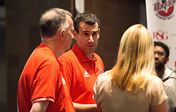 Bristol Flyers head coach Andreas Kapoulas and Assistant Nick Burns are interviewed by Lisa Knights at the Sponsors Evening - Mandatory by-line: Robbie Stephenson/JMP - 12/09/2016 - BASKETBALL - Ashton Gate Stadium - Bristol, England - Bristol Flyers Sponsors Event