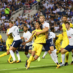 (L-R) Edinson Cavani of PSG and Eric Dier of Spurs jostle for position at a corner during the International Champions Cup match between Paris Saint Germain and Tottenham Hotspur on July 22, 2017 in Orlando, United States. (Photo by Dave Winter/Icon Sport)