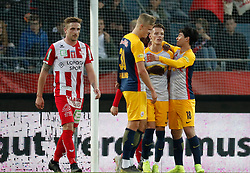 03.04.2019, Merkur Arena, Graz, AUT, OeFB Uniqa Cup, GAK vs Red Bull Salzburg, Halbfinale, im Bild von links Sebastian Prattes (GAK), Erling Braut Haland (FC Red Bull Salzburg), Hannes Wolf (FC Red Bull Salzburg) und Takumi Minamino (FC Red Bull Salzburg) // during the halffinal match of the ÖFB Uniqa Cup between GAK and Red Bull Salzburg at the Merkur Arena in Graz, Austria on 2019/04/03. EXPA Pictures © 2019, PhotoCredit: EXPA/ Erwin Scheriau
