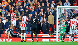STOKE-ON-TRENT, ENGLAND - Saturday, September 9, 2017: Stoke City's Eric Maxim Choupo-Moting scores the second equalising goal during the FA Premier League match between Stoke City and Manchester United at the Bet365 Stadium. (Pic by David Rawcliffe/Propaganda)