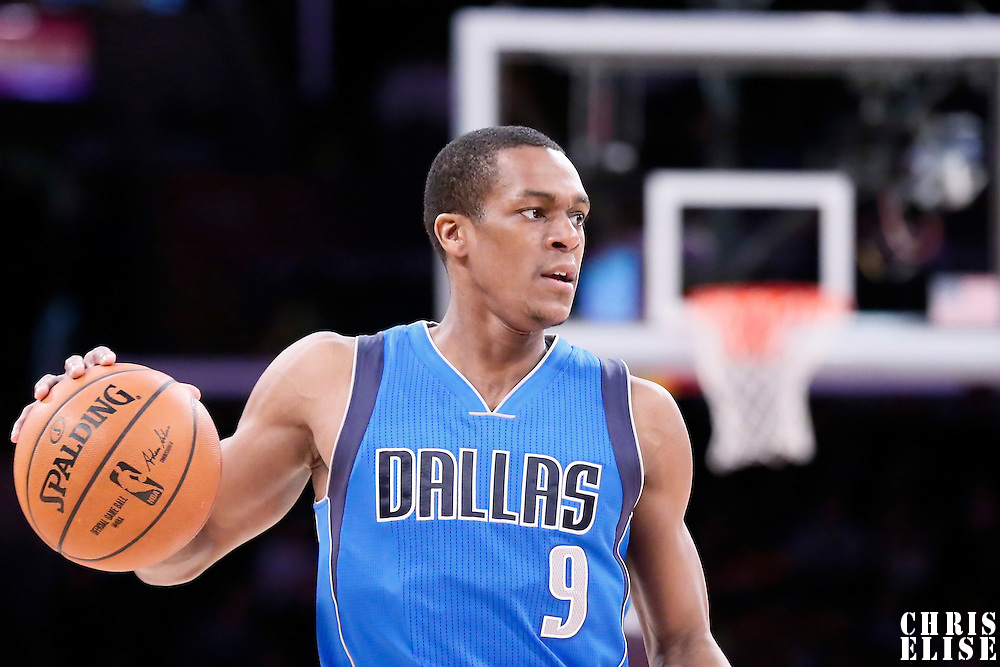 12 April 2014: Dallas Mavericks guard Rajon Rondo (9) brings the ball up court during the Dallas Mavericks 120-106 victory over the Los Angeles Lakers, at the Staples Center, Los Angeles, California, USA.