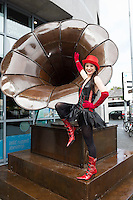 "13/06/2016 repro free. Actor Emma Regan with giant sculpture ""The Gramaphone"" by Donnacha Cahill opens the Galway International Arts Festival 2016 Box Office located at the Galway Tourist Office. The Festival runs from the 11th to the 24th of July in the city of the Tribes. . Photo:Andrew Downes, xposure"