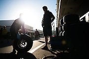October 21, 2016: United States Grand Prix. Red Bull mechanics working with Pirelli tires