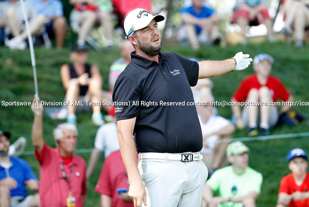 CROMWELL, CT - JUNE 23: Marc Leishman goes left off the 17th tee during the second round of the Travelers Championship on June 23, 2017, at TPC River Highlands in Cromwell, Connecticut. (Photo by Fred Kfoury III/Icon Sportswire)