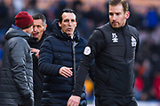 Unai Emery of Arsenal (Manager) goes to shake Jan Siewert of Huddersfield Town (Manager) hand after the final whistle during the Premier League match between Huddersfield Town and Arsenal at the John Smiths Stadium, Huddersfield, England on 9 February 2019.