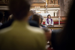 "9 December 2017, Oslo, Norway: In the Trinity Church in Oslo, Norway on 9 December, the World Council of Churches and the Church of Norway hosted an ecumenical prayer service on the occasion of the Nobel Peace Prize ceremony. Oslo hosts the Nobel Peace Prize award ceremony on 9-10 December 2017. The prize in 2017 goes to the International Campaign to Abolish Nuclear Weapons (ICAN), for ""its work to draw attention to the catastrophic humanitarian consequences of any use of nuclear weapons and for its ground-breaking efforts to achieve a treaty-based prohibition of such weapons"". Here, Church of Norway's presiding bishop Helga Haugland Byfuglien."