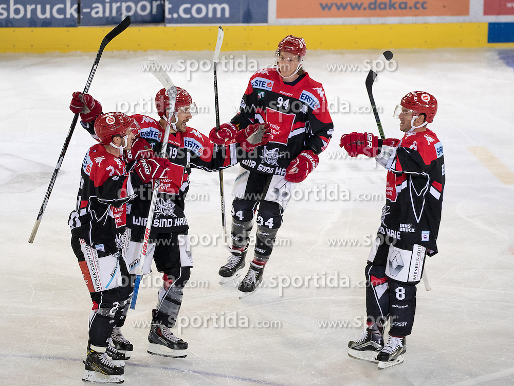 16.09.2016, Tiroler Wasserkraft Arena, Innsbruck, AUT, EBEL, HC TWK Innsbruck Die Haie vs HCB Suedtirol Alperia, 1. Runde, im Bild jubel bei Innsbruck nach dem 4:5 durch Lubomir Stach (HCI) // Innsbruck celebrates 4:5 of Lubomir Stach (HCI) during the Erste Bank Icehockey League 1st Round match between HC TWK Innsbruck Die Haie and HCB Suedtirol Alperia at the Tiroler Wasserkraft Arena in Innsbruck, Austria on 2016/09/16. EXPA Pictures © 2016, PhotoCredit: EXPA/ Johann Groder