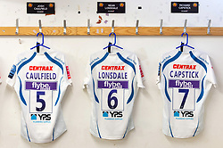 A general view of the matchday jerseys of Josh Caulfield, Sean Lonsdale and Richard Capstick of Exeter Chiefs - Mandatory byline: Patrick Khachfe/JMP - 07966 386802 - 04/05/2019 - RUGBY UNION - Allianz Park - London, England - Saracens v Exeter Chiefs - Gallagher Premiership Rugby