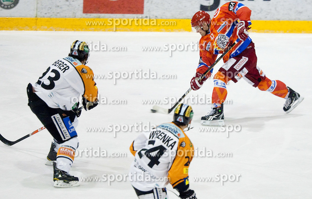 Matevz Erman of Acroni Jesenice during ice hockey match between HK Acroni Jesenice and  Moser Medical Graz 99ers in 24th Round of EBEL league, on December 3, 2010 in Arena Podmezakla, Jesenice, Slovenia.  (Photo By Vid Ponikvar / Sportida.com)