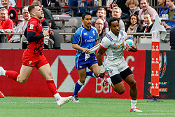 March 9, 2019 - Vancouver, BC, U.S. - VANCOUVER, BC - MARCH 10: Carlin Isles #1 of USA runs in to score during Game #8- USA 7s vs Wales 7s in Pool A match-up at the Canada Sevens held March 9-10, 2019 at BC Place Stadium in Vancouver, BC, Canada.(Photo by Allan Hamilton/Icon Sportswire) (Credit Image: © Allan Hamilton/Icon SMI via ZUMA Press)
