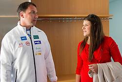Primoz Kozmus with his pregnant wife Maja Kozmus prior to the press conference of athlete P. Kozmus before new season 2013, on April 23, 2013,in Gen-i energija, Krsko, Slovenia. (Photo By Vid Ponikvar / Sportida.com)