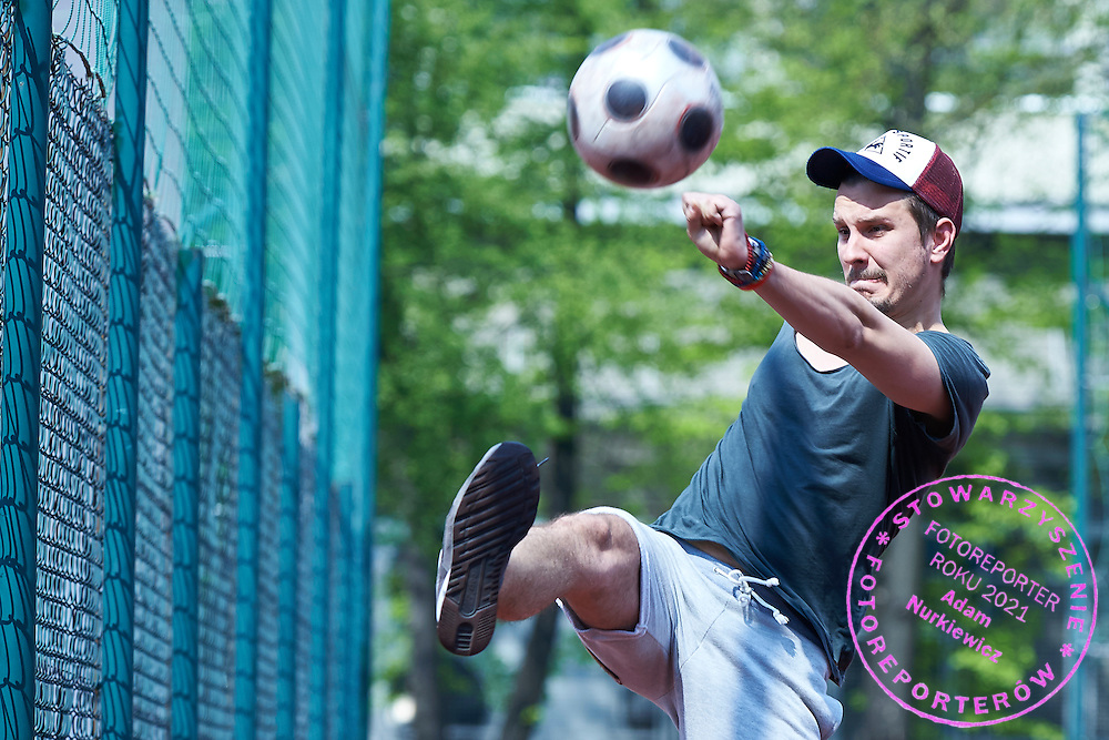 Jakub Szymczuk (Gosc Niedzielny Weekly) controls the ball during friendly soccer match between Polish photographers at Saska Kepa in Warsaw, Poland.<br /> <br /> Poland, Warsaw, April 25, 2015<br /> <br /> Picture also available in RAW (NEF) or TIFF format on special request.<br /> <br /> For editorial use only. Any commercial or promotional use requires permission.<br /> <br /> Mandatory credit:<br /> Photo by &copy; Adam Nurkiewicz / Mediasport