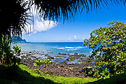 Blue Pacific waters at Hideaways Beach, Princeville, Island of Kauai, Hawaii