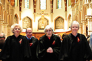 "Illinois Supreme Court Justices (L to R) Anne M. Burke, Mary Ann G. McMorrow (retired) and  Mary Jane Theis lead a procession of fellow judges, law school professors and members of the Catholic Lawyers Guild during the 78th Annual Votive Mass of the Holy Spirit, or ""Red Mass"" at Holy Name Cathedral in Chicago. September 30, 2012 l Brian J. Morowczynski~ViaPhotos..For use in a single edition of Catholic New World Publications, Archdiocese of Chicago. Further use and/or distribution may be negotiated separately. Contact ViaPhotos at 708-602-0449 or email brian@viaphotos.com."