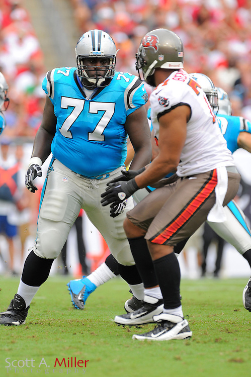 Carolina Panthers guard Byron Bell (77) during the Panthers game against the Tampa Bay Buccaneers at Raymond James Stadium  on September 9, 2012 in Tampa, Florida.  The Bucs won 16-10..©2012 Scott A. Miller...