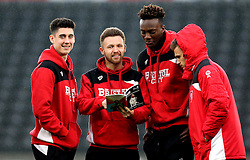 Callum O'Dowda, Matty Taylor, Tammy Abraham and Jamie Paterson of Bristol City arrive at The iPro stadium ahead of the Sky Bet Championship fixture with Derby County - Mandatory by-line: Robbie Stephenson/JMP - 11/02/2017 - FOOTBALL - iPro Stadium - Derby, England - Derby County v Bristol City - Sky Bet Championship