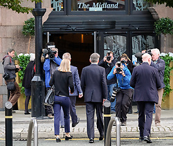 (c) Licensed to London News Pictures. <br /> 03/10/2017<br /> Manchester, UK<br /> <br /> Philip Hammond, Chancellor of the Exchequer walks past waiting media as he enters the Midland Hotel after giving media interviews at the Conservative Party Conference held at the Manchester Central Convention Complex.<br /> <br /> Photo Credit: Ian Forsyth/LNP