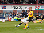 Debutant Jamie Reid scores the only goal of the game - Dundee v Livingston, Irn Bru Scottish Football League First Division at Dens Park..© David Young - 5 Foundry Place - Monifieth - DD5 4BB - Telephone 07765 252616 - email: davidyoungphoto@gmail.com - web: www.davidyoungphoto.co.uk