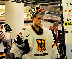 09.05.2012, Ericsson Globe, Stockholm, SWE, IIHF, Eishockey WM, Deuschland (GER) vs Schweden (SWE), im Bild 44 Goalkeeper Dennis Endras (HIFK) // during the IIHF Icehockey World Championship Game between Germany (GER) and Sweden (SWE)at the Ericsson Globe, Stockholm, Sweden on 2012/05/09. EXPA Pictures © 2012, PhotoCredit: EXPA/ PicAgency Skycam/ Simone Syversson..***** ATTENTION - OUT OF SWE *****