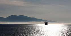 MV Isle of Mull appears through a bank of fog as it approaches the entrance to Oban Bay. (c) Stephen Lawson | Edinburgh Elite media