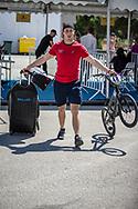 Men Elite #48 (GRAF David) SUI arriving on race day at the 2018 UCI BMX World Championships in Baku, Azerbaijan.