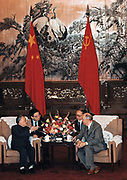 Talks between Soviet Russian Leader Mikhail Gorbachev and China's Communist leader Deng Xiaoping in May 1989