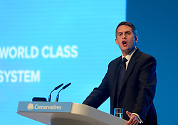 Education Secretary Gavin Williamson speaks on day 2 of the Conservative Party conference in Manchester.<br /> <br /> © Dave Johnston / EEm