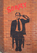 """Sorry"" Series but Street Artist Peeblitz. George W. Bush hanging as if by suicide.<br /> PIC JAYNE RUSSELL. 19/4/08"