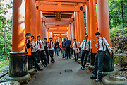 "Young men pose in suits at Fushimi Inari Taisha, an important Shinto shrine in southern Kyoto, Japan. Bright vermilion Senbon Torii (""thousands of torii gates"") straddle a network of trails behind its main buildings. The trails lead into the wooded forest of the sacred Mount Inari (233 meters). Fushimi Inari is the most important of several thousands of shrines dedicated to Inari, the Shinto god of rice. Foxes are thought to be Inari's messengers, honored in many statues. The shrine predates the capital's move to Kyoto in 794. The torii gates are donated by individuals and companies, as inscribed on the back of each gate. Prices for small to large gates run from 400,000 to over one million yen."