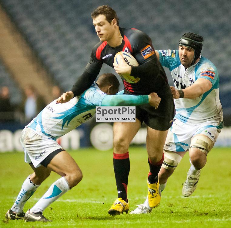 Tim Visser is tackled by Eli Walker and Jonathan Thomas, Edinburgh Rugby v Ospreys, RaboDirect Pro12 League
