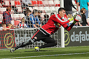 Sunderland Goalkeeper Costel Pantilimon warming up  during the Barclays Premier League match between Sunderland and Tottenham Hotspur at the Stadium Of Light, Sunderland, England on 13 September 2015. Photo by Simon Davies.