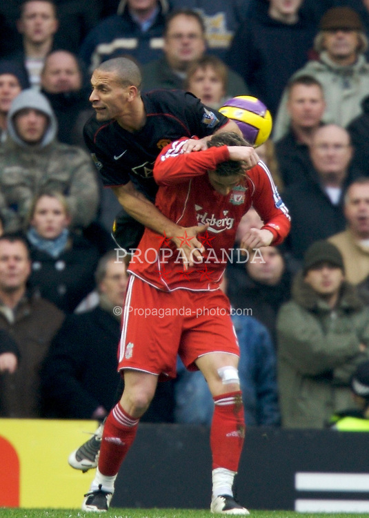 LIVERPOOL, ENGLAND - Sunday, December 16, 2007: Liverpool's Fernando Torres and Manchester United's Rio Ferdinand during the Premiership match at Anfield. (Photo by David Rawcliffe/Propaganda)