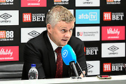 Manchester United manager Ole Gunnar Solskjaer during the post match press confrence after the Premier League match between Bournemouth and Manchester United at the Vitality Stadium, Bournemouth, England on 2 November 2019.