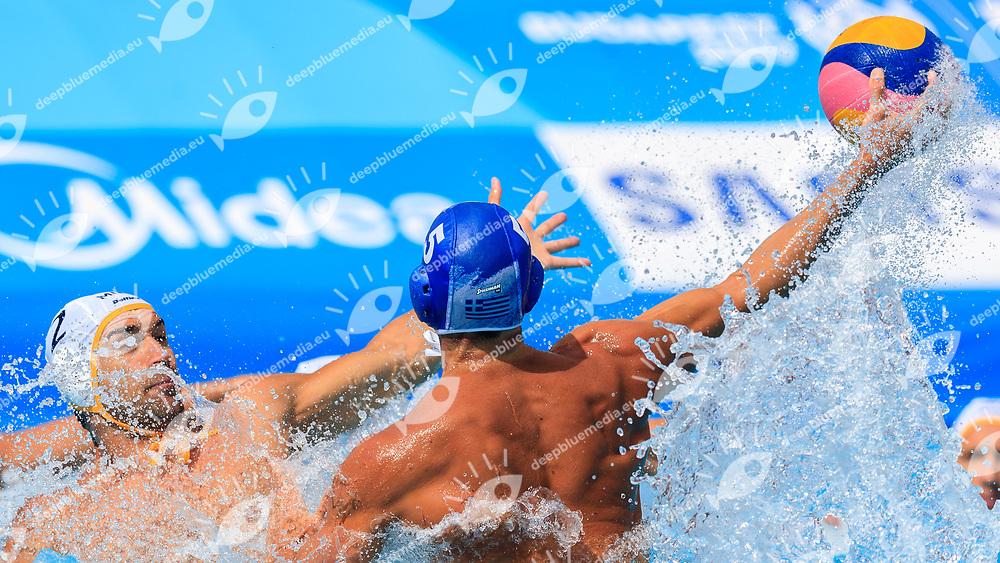 Ioannis Fountoulis of Greece and Drasko Brguljan of Montenegro<br /> Montenegro (white cap) -  Greece (blue cap)<br /> Quarterfinal  Round Water Polo Man<br /> Day12  25/07/2017 <br /> XVII FINA World Championships Aquatics<br /> Alfred Hajos Complex Margaret Island  <br /> Budapest Hungary <br /> Photo @Deepbluemedia/Insidefoto Photo @Marcelterbals/Deepbluemedia/Insidefoto