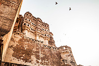 Looking up at the walls of Mehrangarh Fort in Jodhpur, Rajasthan, India.