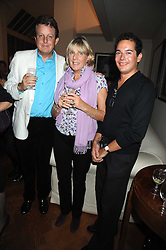 Left to right, LORD VALENTINE CECIL, the COUNTESS OF WESTMORLAND and jewellery designer LUIS MIGUEL HOWARD at the launch party of Ingrid Seward's new book 'William & Harry - The People's Princes' held at 47 Hornton Court West, London W8 on 7th October 2008.