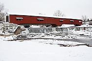 63904-03315 Bridgeton Covered Bridge in winter at Bridgeton, IN