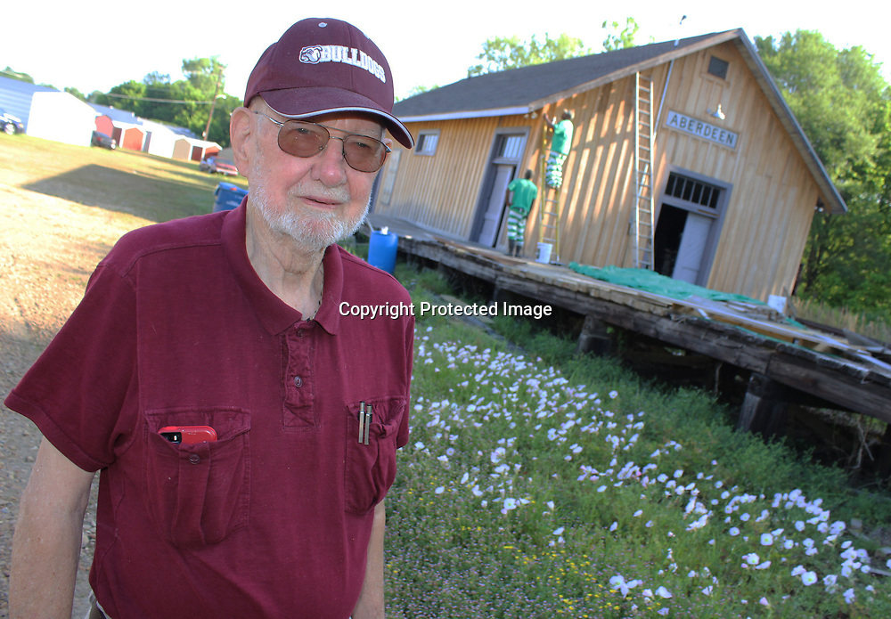 RAY VAN DUSEN/BUY AT PHOTOS.MONROECOUNTYJOURNAL.COM<br /> Retired civil engineer Sam Jaynes hasn't given up offering his level of expert advice for Aberdeen Main Street's depot project. Because of his volunteerism, he earned a Mississippi Main Street award last week.
