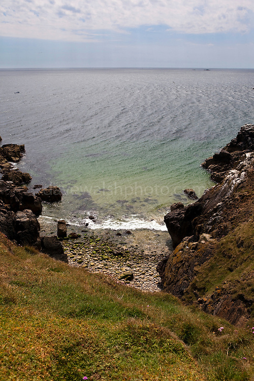"View of the ""Wherry Hole"" below the cliffs on the south, unsheltered side of the Great Saltee, the larger of the Saltee Islands, off the coast of Co. Wexford, Ireland."