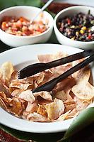 Yuca chips and salsa at Restaurant Brisa Azul at Lapa Rios Ecolodge, Osa Peninsula, Costa Rica