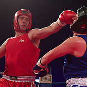 Jouchen Wauters (red) and Ben Kyllonen (blue) during the 'Thriller in the Chiller' charity boxing event as part of the Queenstown Winter Festival at the Queenstown Events Centre , South Island, New Zealand, 25th June 2011