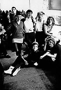 A group of girls backstage from the band The Body Snatchers a Ska, 2 Tone band, UK 1980