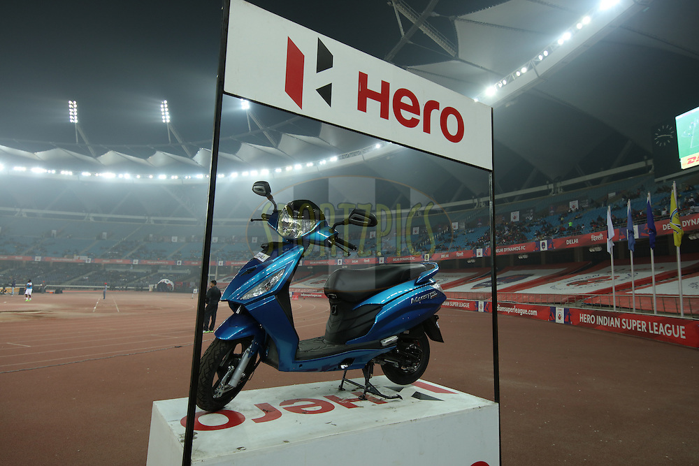 Hero Scooty on display during match 53 of the Indian Super League (ISL) season 2  between Delhi Dynamos FC and Kerala Blasters FC held at the Jawaharlal Nehru Stadium, Delhi, India on the 3rd December 2015.<br /> <br /> Photo by Saikat Das  / ISL/ SPORTZPICS